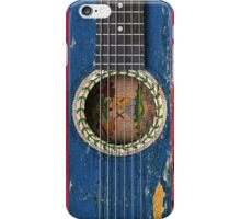 Old Vintage Acoustic Guitar with Belize Flag iPhone Case/Skin