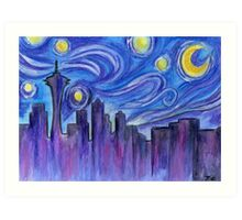 Starry Night Over Seattle Art Print