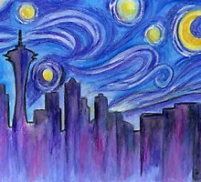 Starry Night Over Seattle by Roz Abellera Art Gallery