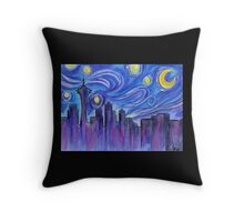 Starry Night Over Seattle Throw Pillow