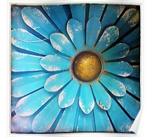 Blue and Gold Metal Daisy V Poster