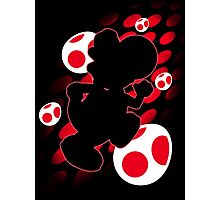 Super Smash Bros. Red Yoshi Silhouette Photographic Print