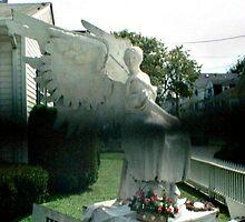 Strange Black Mist In Front of Angel Statue by Jane Neill-Hancock