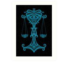 Blue Libra Zodiac Sign in the Stars Art Print