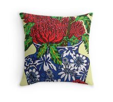 still life with waratah in blue chinese vase Throw Pillow