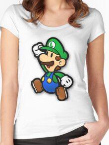 Custom Paper Mario Luigi Shirt Women's Fitted Scoop T-Shirt