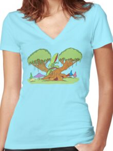 insect tree Women's Fitted V-Neck T-Shirt