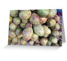 A number of tender raw coconuts in a pile Greeting Card
