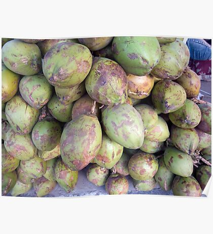 A number of tender raw coconuts in a pile Poster