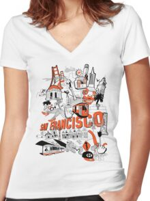 City Tee SF Women's Fitted V-Neck T-Shirt