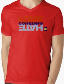 HRC Love Conquers Hate Mens V-Neck T-Shirt