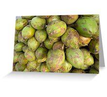 Cross section of a number of tender fresh coconuts Greeting Card