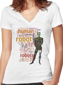 Human Robot Women's Fitted V-Neck T-Shirt