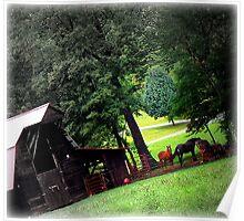 Franklin, North Carolina Barn and Horses Poster