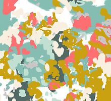Rumor - Abstract painting, design pink mustard blue painterly design by charlottewinter