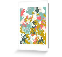 Rumor - Abstract painting, design pink mustard blue painterly design Greeting Card