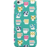 Vintage Teacups - Mid Century, Retro Teacups in pop colors by Andrea Lauren iPhone Case/Skin