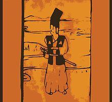 Samurai Wood Block Print by Chris Serong