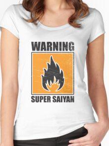 DBZ - Super Saiyan Warning Women's Fitted Scoop T-Shirt