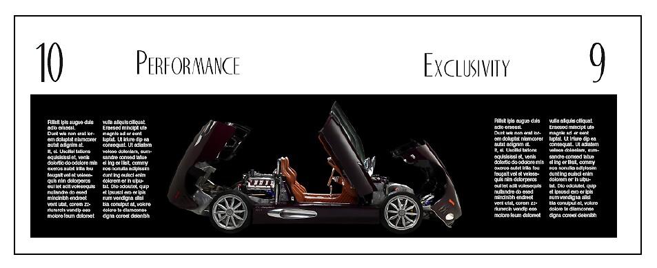 Spyker car brochure spread by Jeff Matter