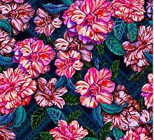 exotic flowers on tribal background.  by Elena Belokrinitski