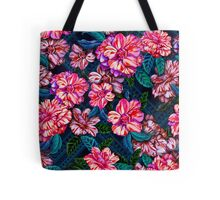 exotic flowers on tribal background.  Tote Bag