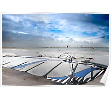 wind surfers braving the Atlantic winds Poster