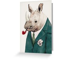 Rhinoceros Green Greeting Card