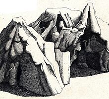 Abstract in Pen and Ink:  Mountain 2 by Christopher Hinson