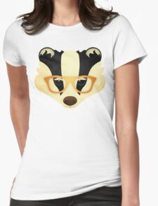 Hipster Badger: Gold Womens Fitted T-Shirt