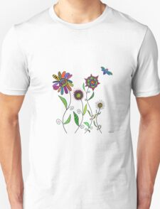 flowers and bees on white Unisex T-Shirt