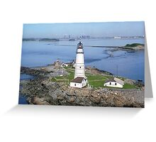 Aerial view of Boston Light Greeting Card