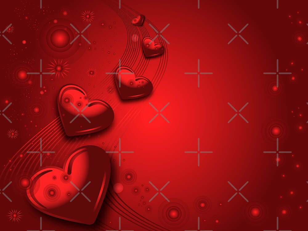 Red valentines card by Olga Altunina