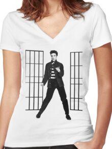 Elvis Presley Jailhouse Rock Women's Fitted V-Neck T-Shirt