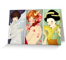 Three Lovely Ladies: Portrait Triptych Greeting Card
