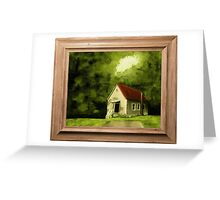 """""""Country Church, version 1"""" ... with a canvas and framed presentation, for prints and products Greeting Card"""