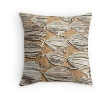 Fish are laid out to dry in the sun. Throw Pillow