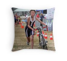 Leaving with her bike Throw Pillow