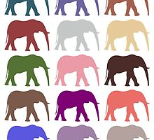 Colorful Elephants - Pink Purple Green Blue by sitnica