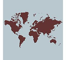 World Splatter Map - silver Photographic Print