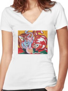 'Kitties at Play' Women's Fitted V-Neck T-Shirt