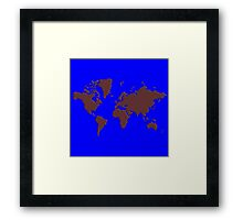 World Splatter Map - true blue Framed Print