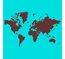 World Splatter Map - turquoise Photographic Print