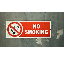 No Smoking sign on an old wall Photographic Print