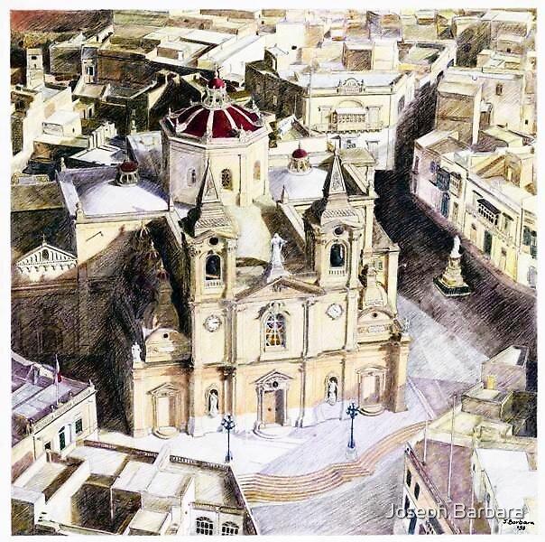Zurrieq Church and Village, Malta by Joseph Barbara