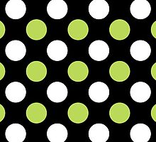 Polka Dots (Dotted Pattern) - Green Black White by sitnica
