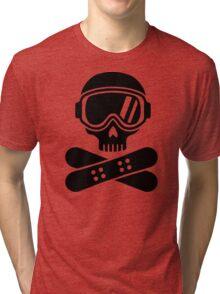 Snowboard skull goggles Tri-blend T-Shirt