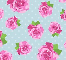 Shabby Chic Polka Dots, Roses - Pink Green Blue by sitnica