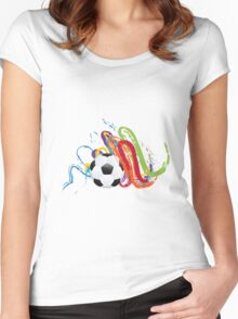 Soccer Ball with Brush Strokes Women's Fitted Scoop T-Shirt