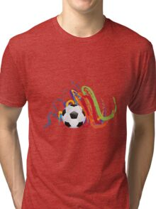 Soccer Ball with Brush Strokes Tri-blend T-Shirt